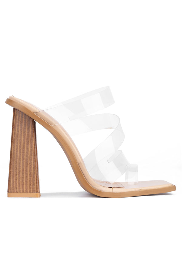 POURRI ON POINT STRAPPY CHUNKY BLOCK HEEL-CLEAR