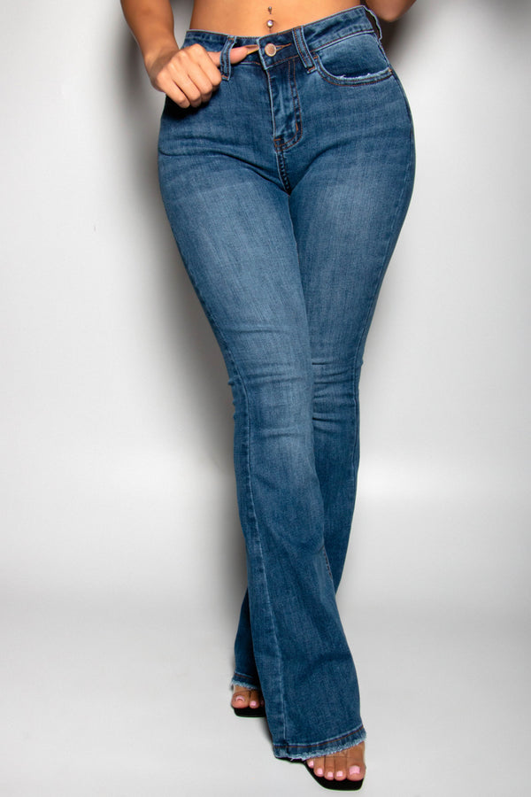 HAVE A LIL FAITH HIGH RISE FLARE JEANS-MEDIUM WASH