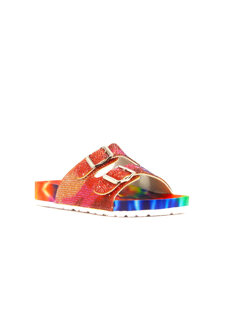 JAMAICAN BEAT VIBIN RAINBOW BUCKLE STRAP SLIDES-MULTI