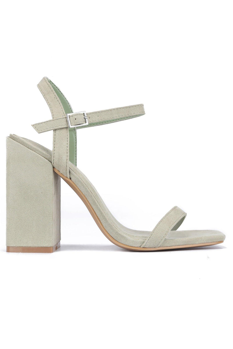 BASHA WANT IT GET IT DOUBLE STRAP CHUNKY HEEL-GREEN
