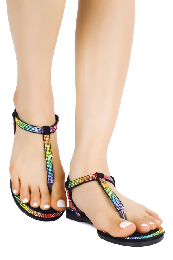 MYLA KEEPS IT CHIC T-STRAP RHINESTONE SANDALS-BLACK