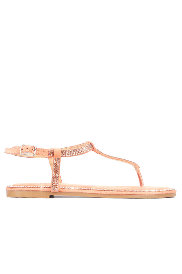 MYLA KEEPS IT CHIC T-STRAP RHINESTONE SANDALS-ORANGE