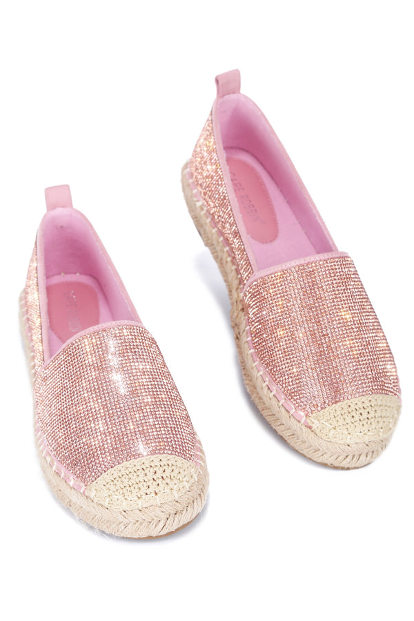 BRENA TAKES THE CAKE SLIP-ON RHINESTONE ESPADRILL FLATS-ROSE GOLD