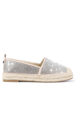 BRENA TAKES THE CAKE SLIP-ON RHINESTONE ESPADRILL FLATS-NUDE