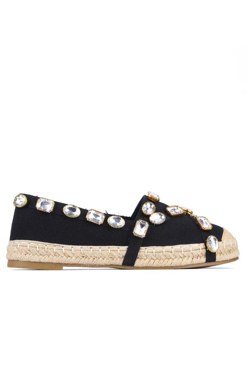 BURMA TAKES A DAY OFF SLIP-ON JEWEL STRAP ESPADRILL FLATS-BLACK