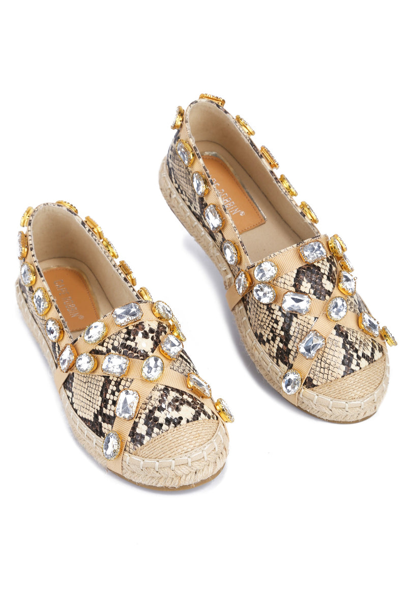 BURMA TAKES A DAY OFF SLIP-ON JEWEL STRAP ESPADRILL FLATS-SNAKE