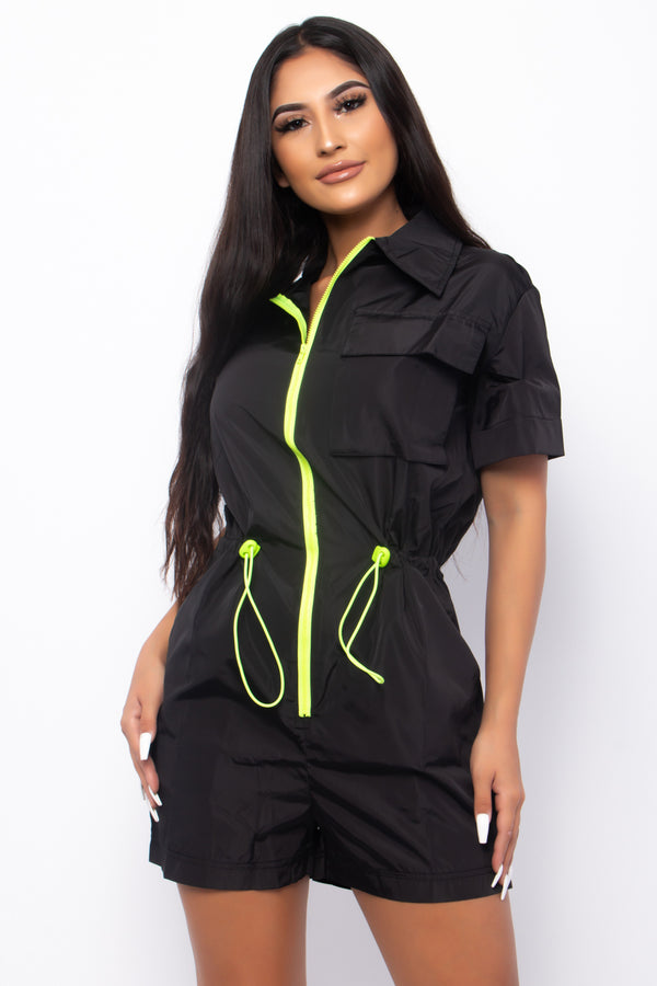 CARGO SHOW EM' YOU'RE FIERCE FASHION UTILITY JUMPSUIT-BLACK