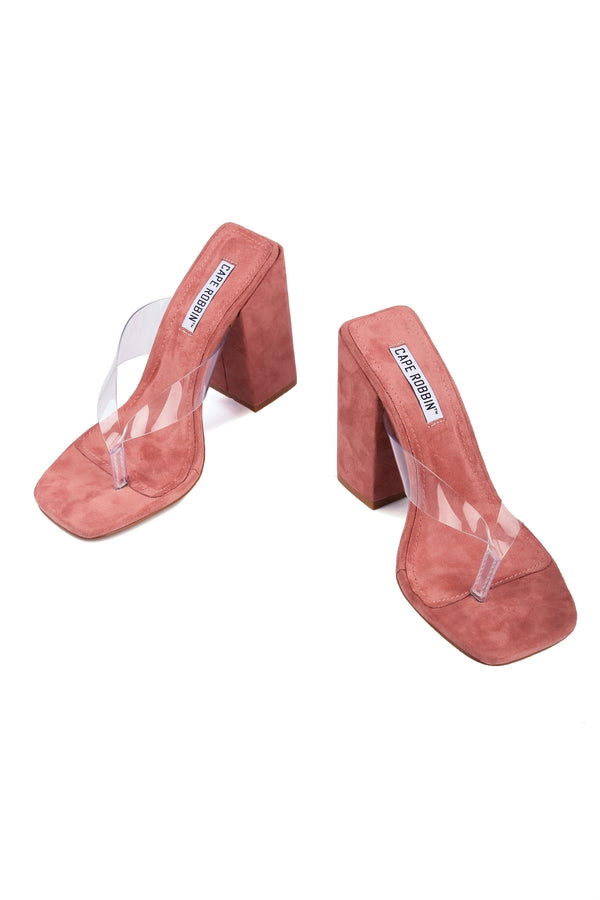 PLUM STEPS IT UP CHUNKY HEEL CLEAR THONG SANDAL-BLUSH