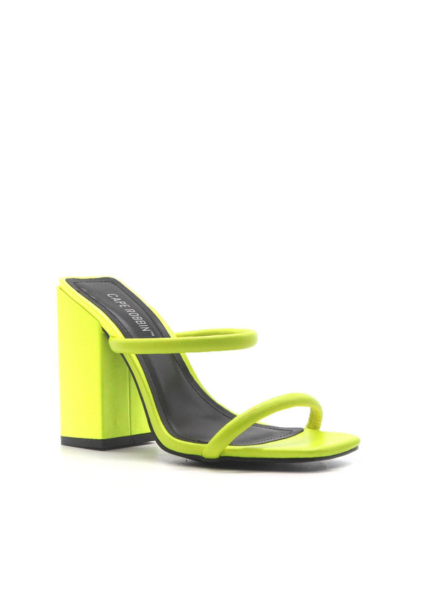 RHEA NOW OR NEVER SLIP ON CHUNKY BLOCK HEEL-LIME