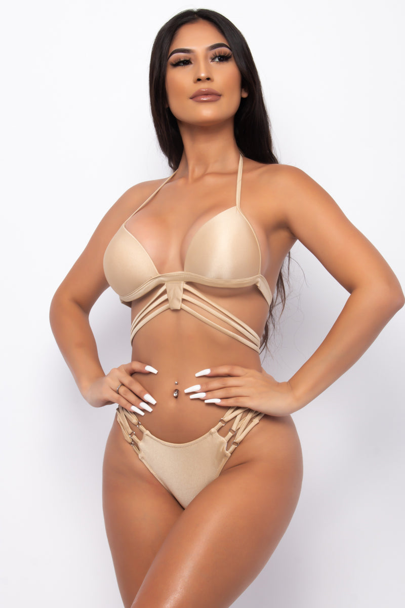GOLDEN BABY TWO PIECE STRAPPY BIKINI SET-NUDE