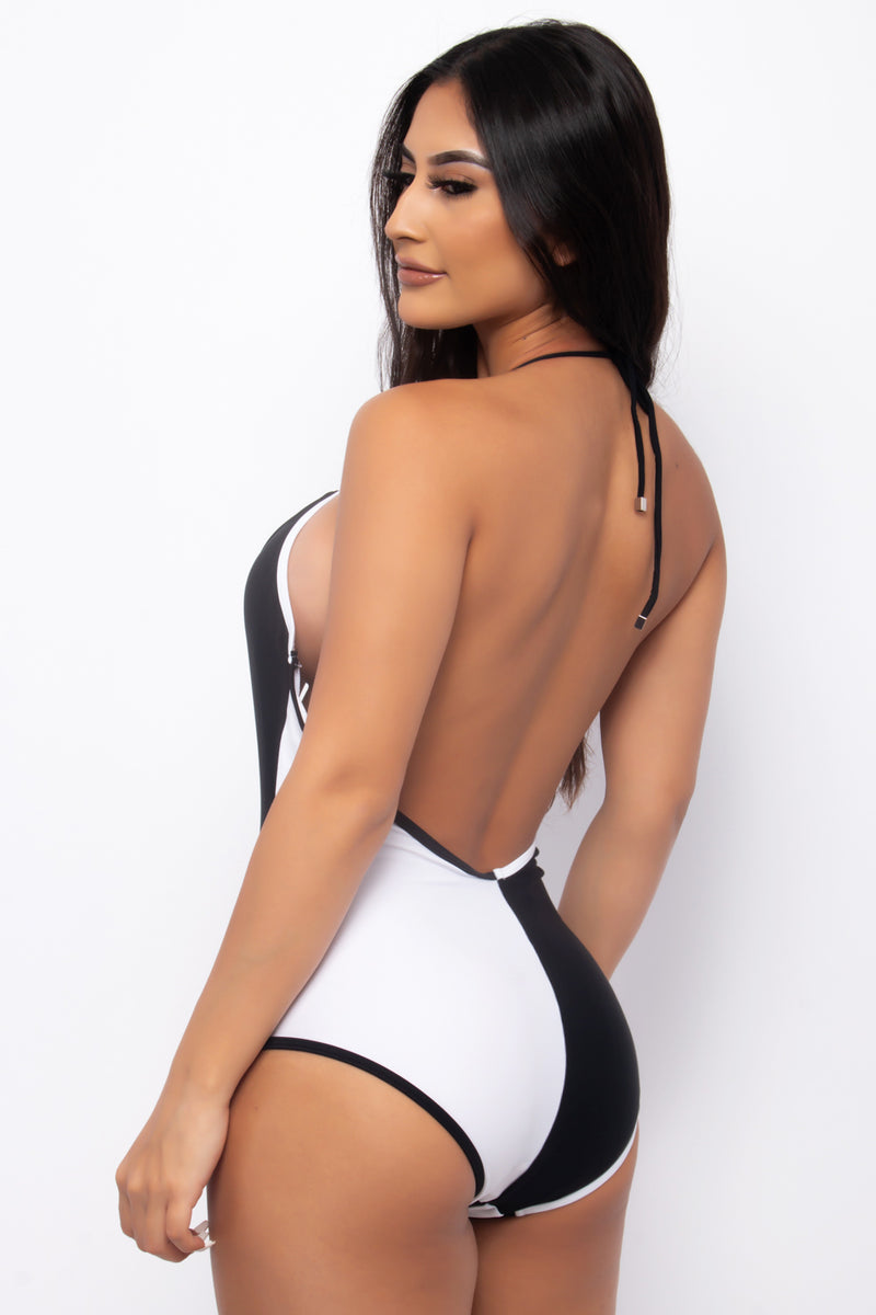 YIN YANG CONTRASTING ONE PIECE SWIMSUIT-WHITE BLACK