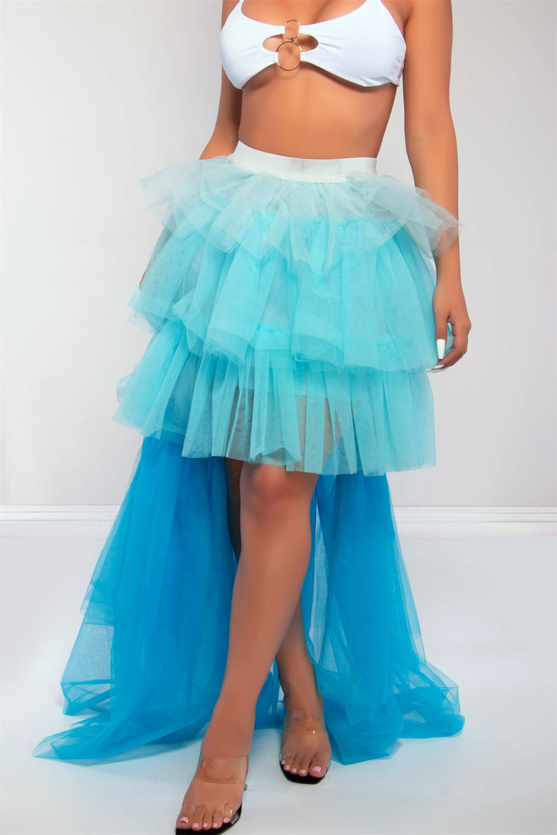 SOILD SKIRT-BLUE