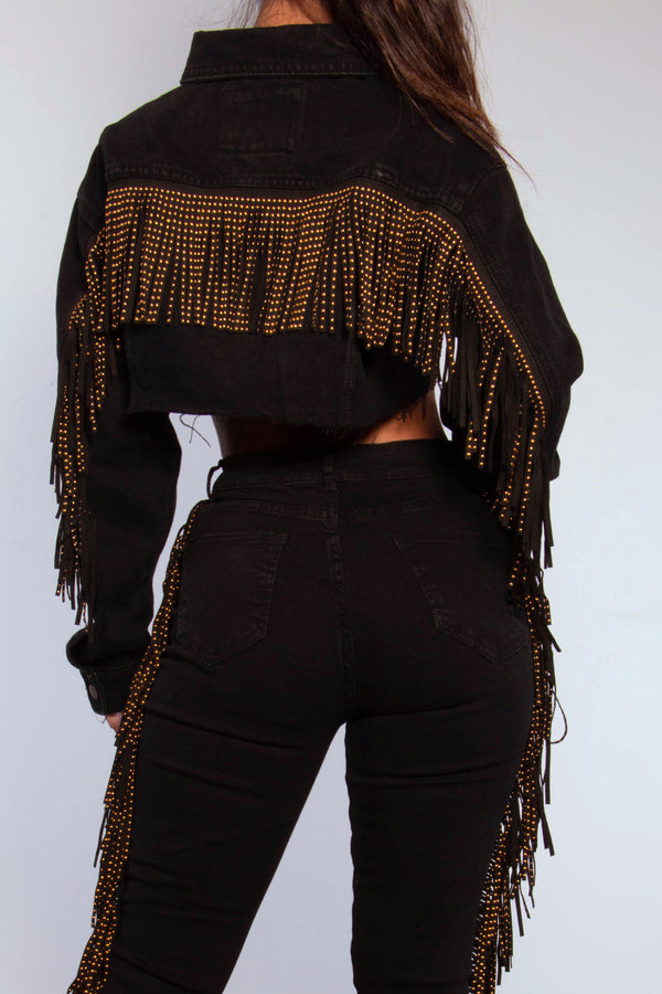 MONICA ALL THE WAY CROPPED DENIM FRINGE JACKET-BLACK