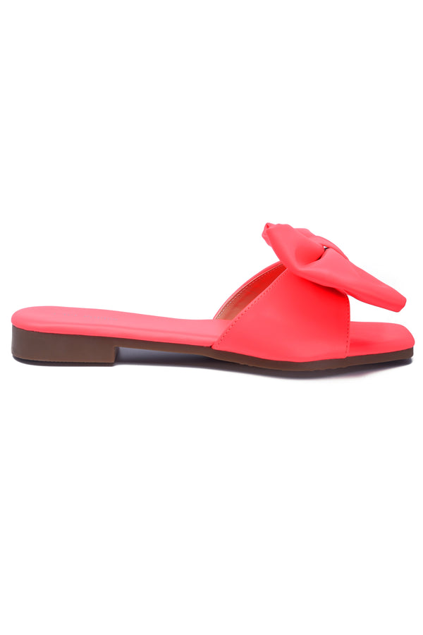 JUJU THAT BOW THOUGH BOW SLIDE SANDAL-CORAL