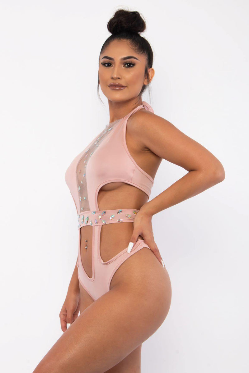 I'M A GEM ONE PIECE CUTOUT SWIMSUIT-PINK