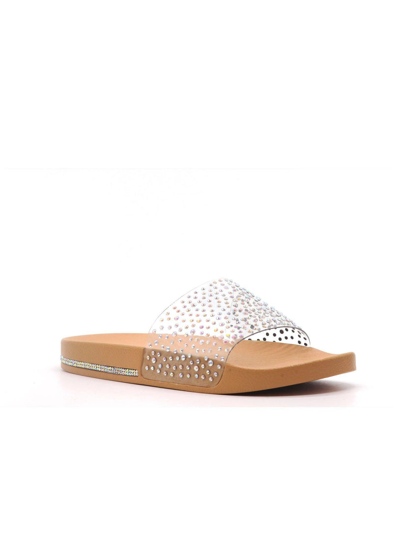 SPARKLE GAME ON POINT RHINESTONE PVC STRAP SLIDES-NUDE