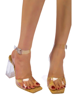 SEE HER HALO CLEAR STRAP LUCITE HEELS-CORK