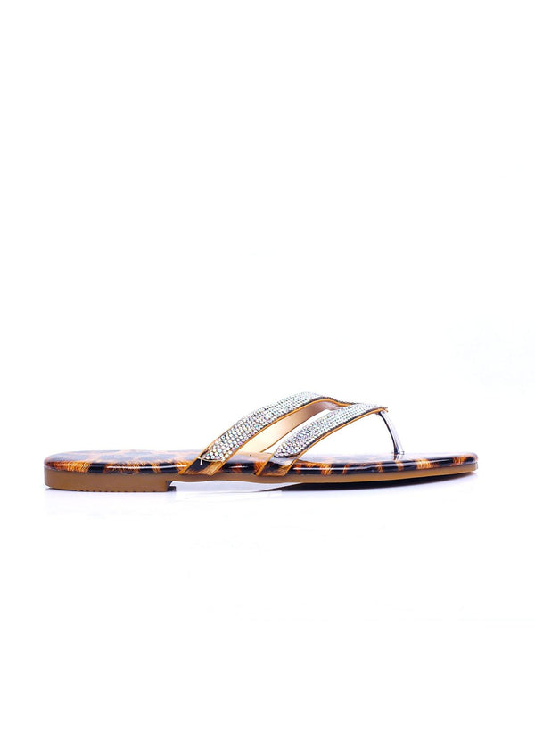 LAKESHORE CASUAL BUT KEEP IT CUTE RHINESTONE THONG SANDALS-LEOPARD