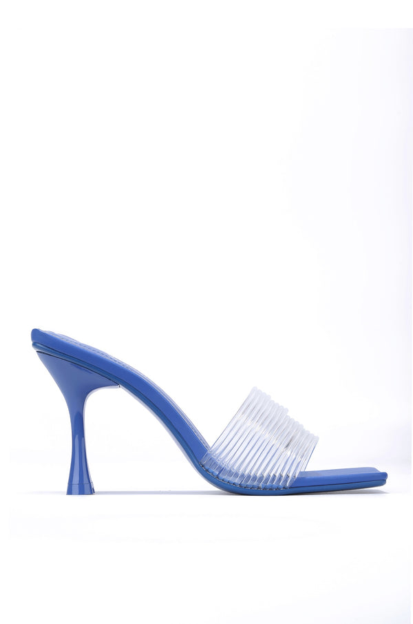 YOU GOT ME SIZZLING CLEAR STRAP SPOOL HEELS-BLUE