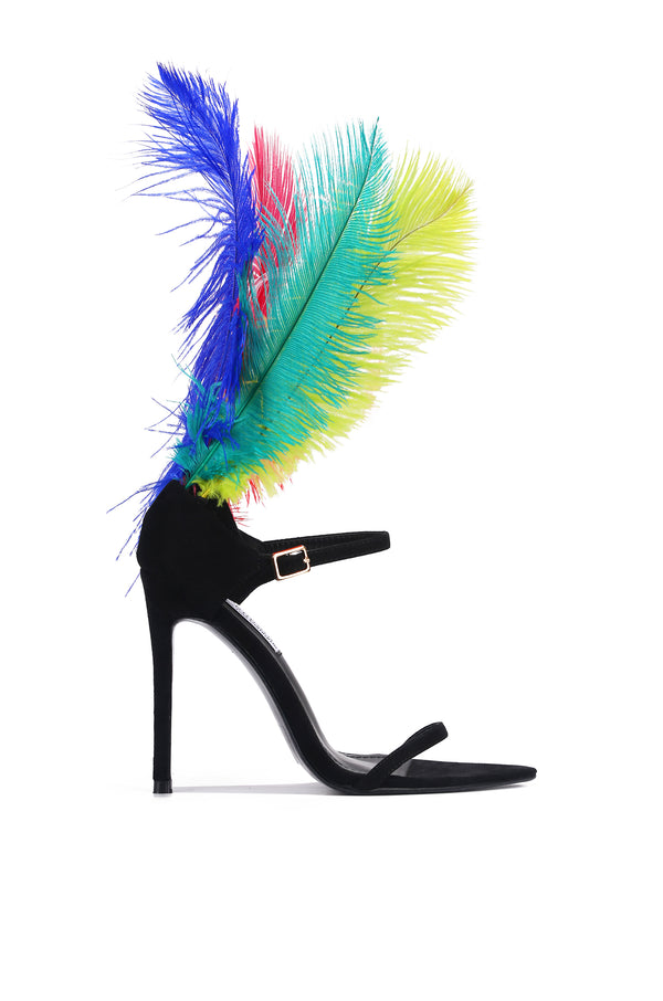 JAZMINE OSTRICHU FEATHER HIGH HEEL STRAP STILETTO SANDAL-MULTI