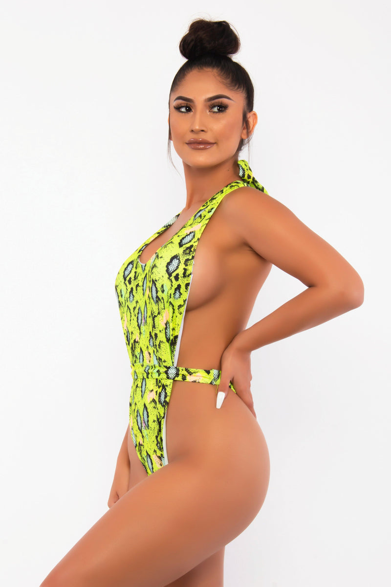 POOLSIDE FEELS HIGH THIGH HALTER TOP SWIMSUIT-NEON GREEN