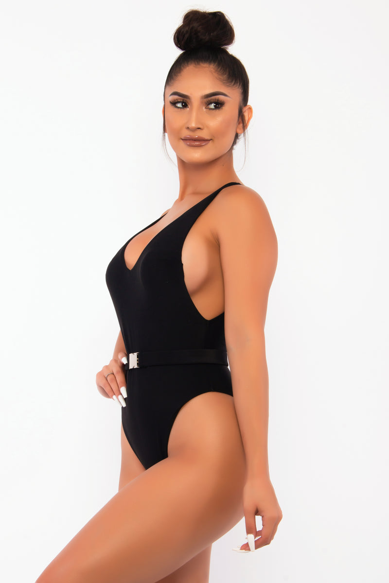 SNATCHED ONE PIECE BELTED HALTER SWIMSUIT-BLACK