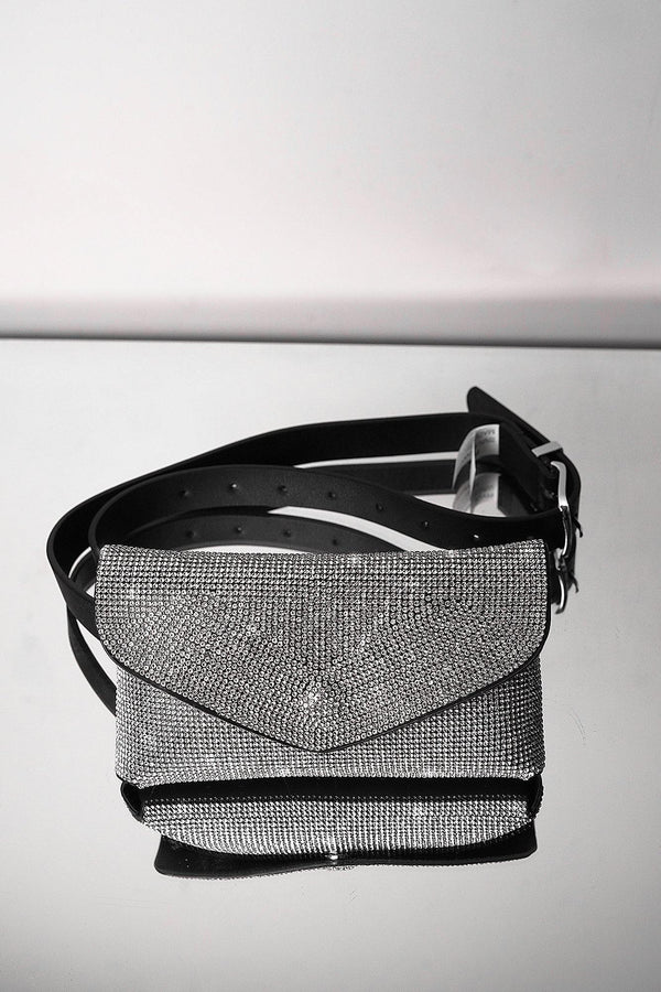 REBOUND CRYSTAL-EMBELLISHED BAG-SILVER