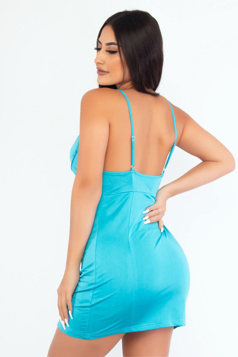 READY TO PARTY PLUNGING NECK SWIM DRESS-BLUE