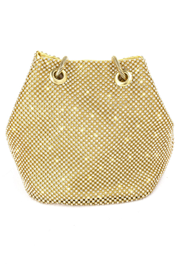LUEX NIGHT OUT MINI BUCKET BAG-GOLD