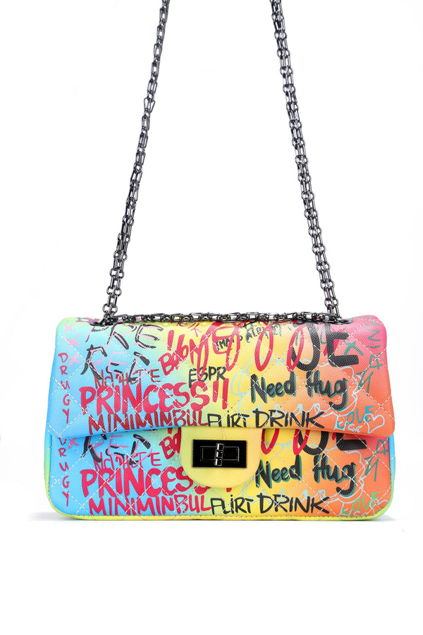 CHANNELING A NEON VIBE GRAFFITI CHAIN BAG-RAINBOW