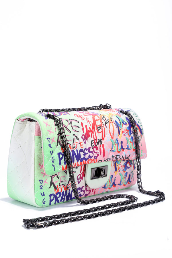 CHANNELING A NEON VIBE GRAFFITI CHAIN BAG-WHITE