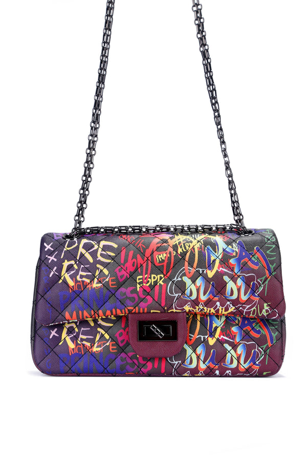 CHANNELING A NEON VIBE GRAFFITI CHAIN BAG-BLACK