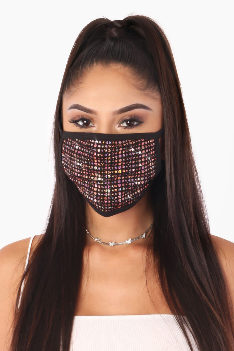 FUNNY SPARKLE WHEREVER YOU GO SEQUIN FACE MASK-PINK