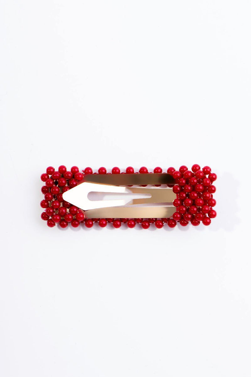 BEADS GALORE HAIR CLIP-RED