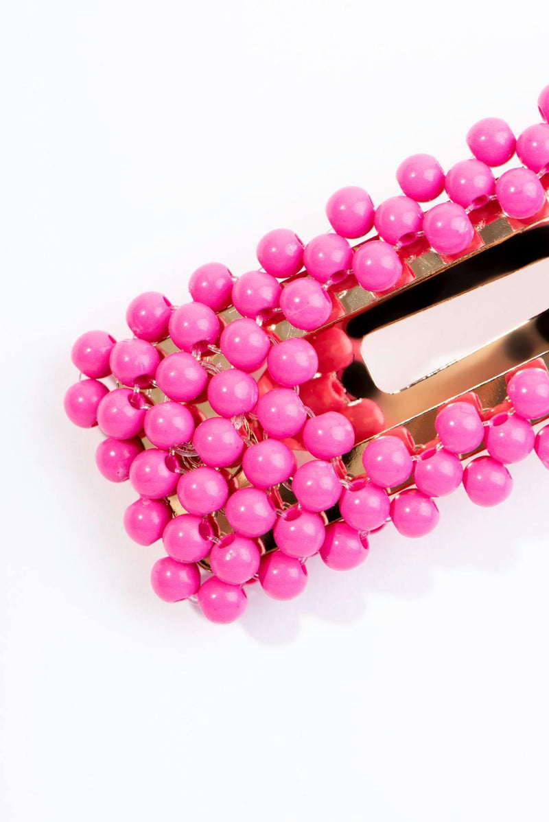 BEADS GALORE HAIR CLIP-PINK