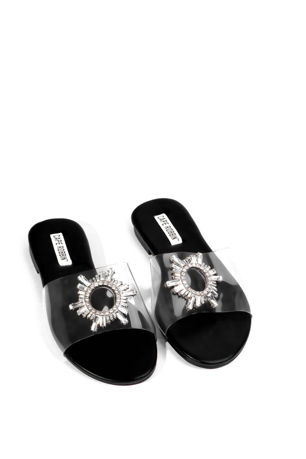 FROZEN IN THE PLACE PVC SLIDE WITH RHINESTONE EMBELLISHMENT-BLACK