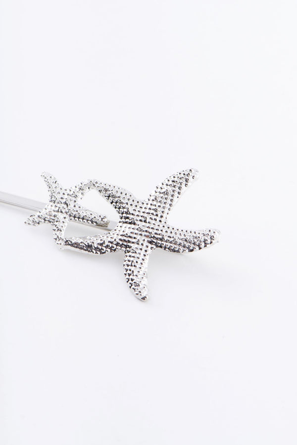 TWO STARFISHES HAIR CLIP-SILV
