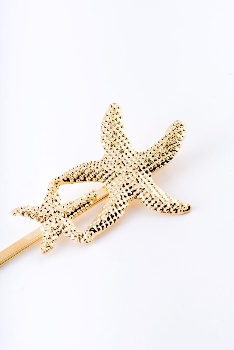 TWO STARFISHES HAIR CLIP-GOLD