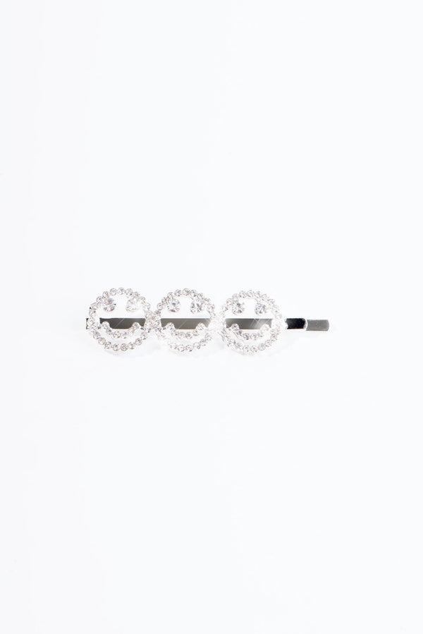 THREE SMILES HAIR CLIP-SILVER