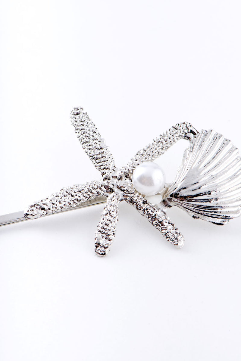 STARFISH AND SHELL HAIR CLIP-SILVER