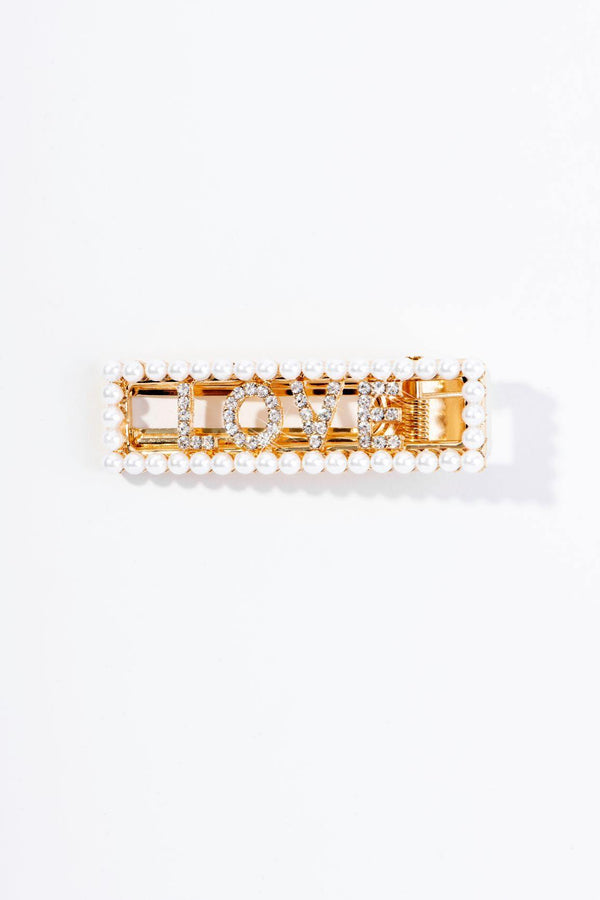 PEARLY LOVE HAIR CLIP-GOLD
