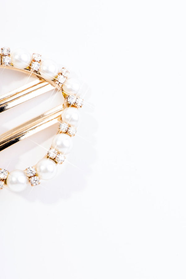 HEARTY PEARL HAIR CLIP-GOLD