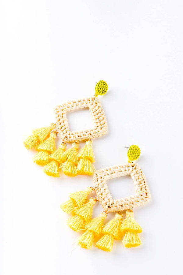 EXOTIC INCA SQUARE EARRINGS-YELLOW - FlashyBox