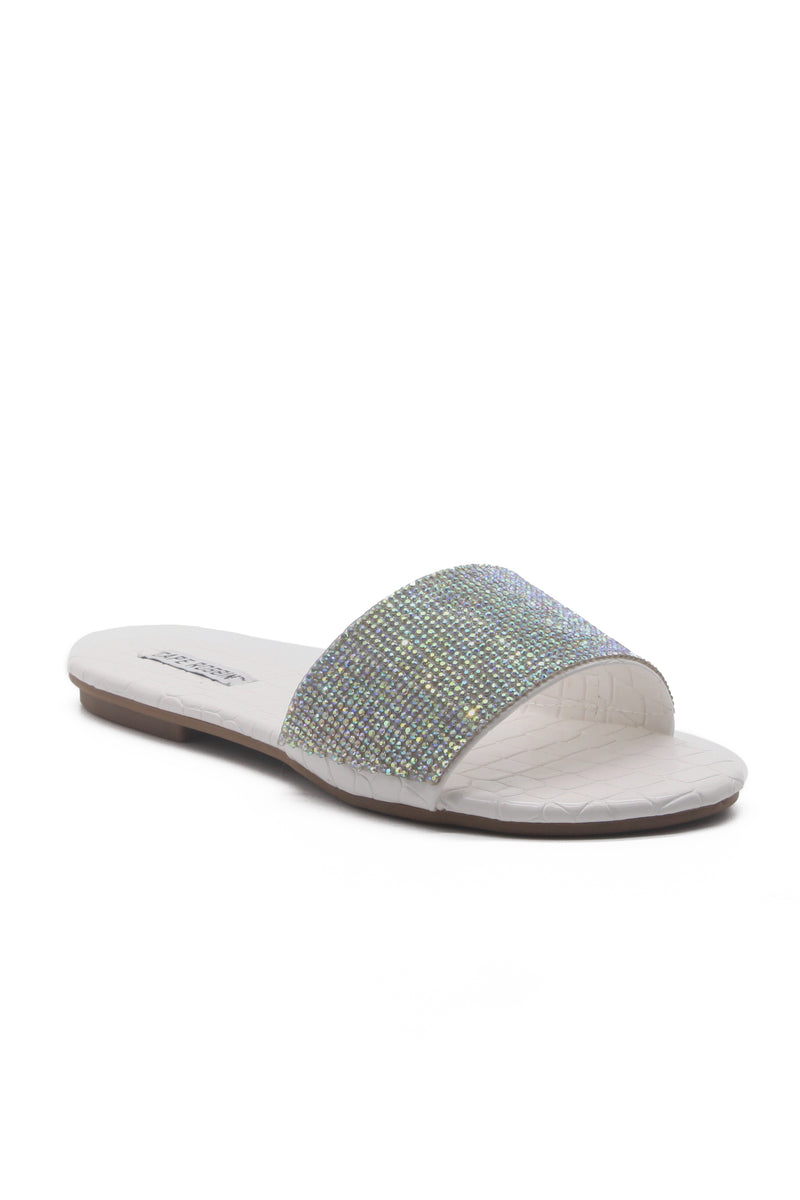 MUSCAT RHINESTONE WIDE BAND SLIP ON SLIDE SANDAL-WHITE