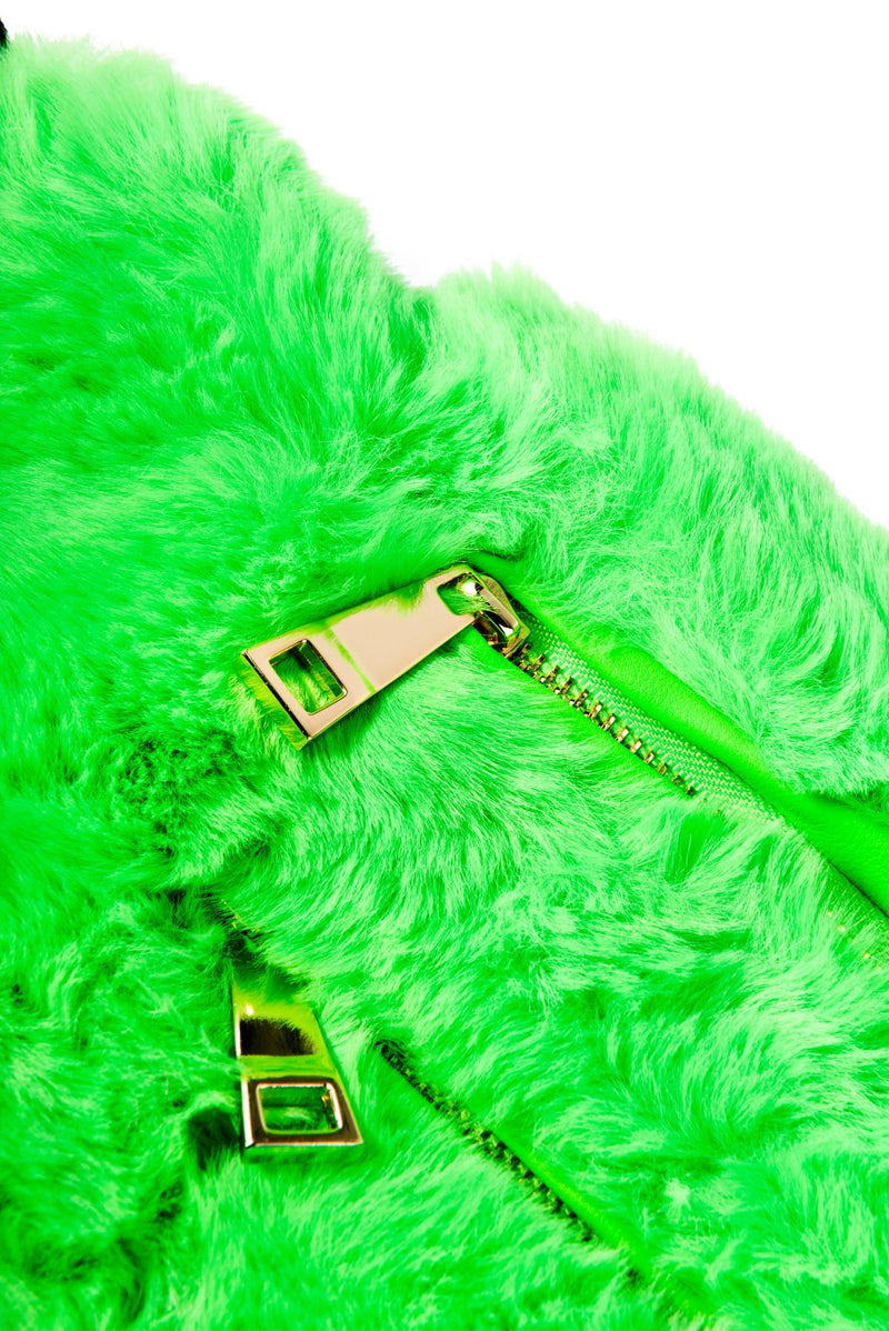 FAUX FUR TRENDY HAND WARMER BELT BAG-GREEN