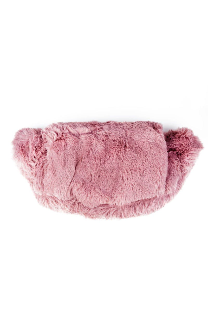 FAUX FUR TRENDY HAND WARMER BELT BAG-PINK