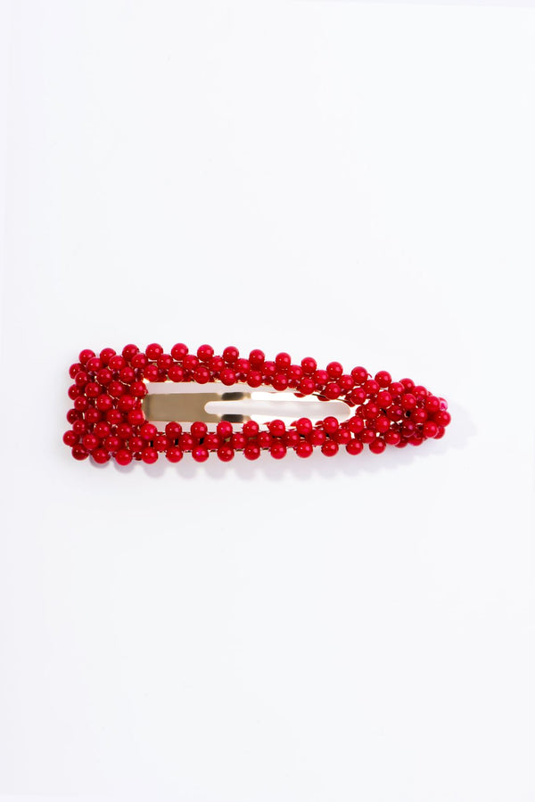 CLIPPLY PEARLS HAIR CLIP-RED