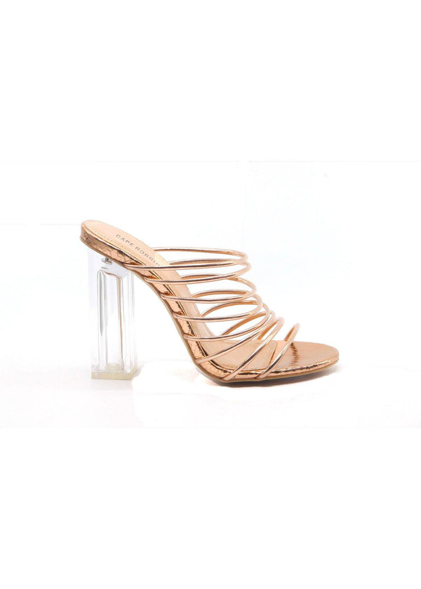 FIA CHUNKY BLOCK HIGH HEEL STRAPPY SLIP ON SLIDE SANDALS-ROSE GOLD