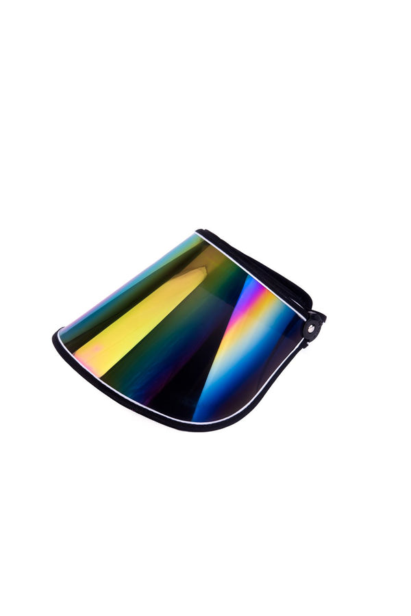 METALLIC SUN RAINBOW VISOR HAT-BLACK