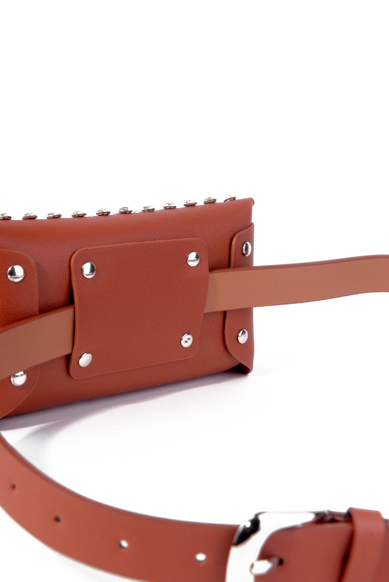STUDDED FASHION BELT BAG-TAN